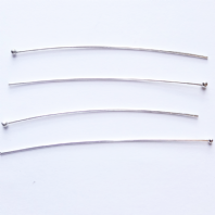 100 Silver Plated Ball 25mm Head Pins